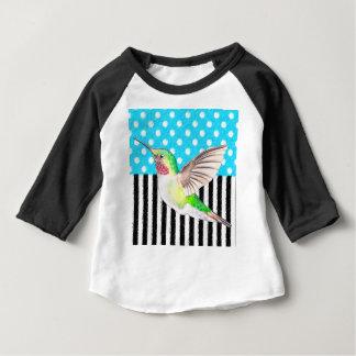 Camiseta Para Bebê Azul artística do colibri