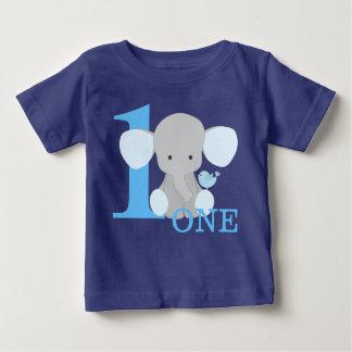 Camiseta Para Bebê Azul do elefante do safari um menino do