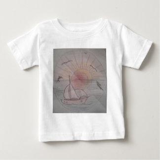 Camiseta Para Bebê Azul do sol do divertimento