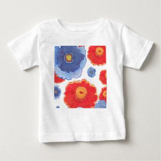 Camiseta Para Bebê Azul e papel de parede de Red_Floral