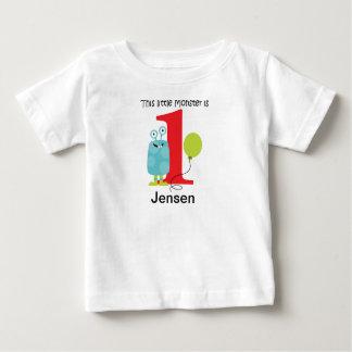 Camiseta Para Bebê Azul pequeno do monstro do primeiro aniversario