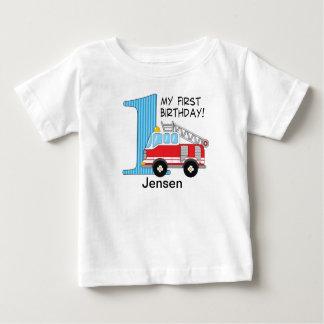 Camiseta Para Bebê Azul/vermelho do carro de bombeiros do primeiro