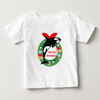 Camiseta Para Bebê baleia de assassino do Feliz Natal