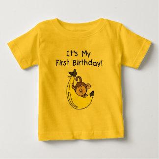 Camiseta Para Bebê Banana - primeiro aniversario do macaco do menino