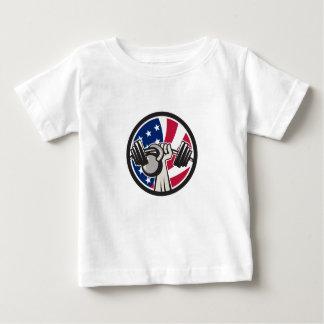 Camiseta Para Bebê Bandeira americana de Kettlebell EUA do Barbell da