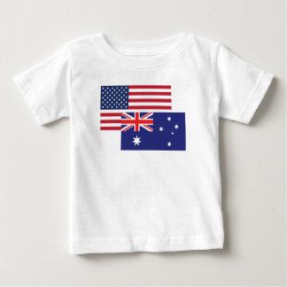 Camiseta Para Bebê Bandeira americana e australiana