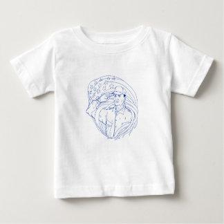 Camiseta Para Bebê Bandeira americana Ukiyo-e da saudação do soldado