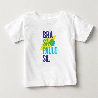Camiseta Para Bebê Bandeira de Brasil São Paulo