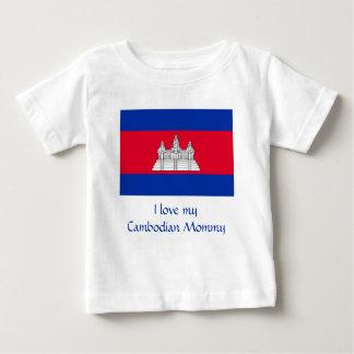 Camiseta Para Bebê Bandeira de Cambodia