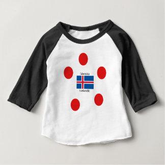 Camiseta Para Bebê Bandeira de Islândia e design islandês da língua