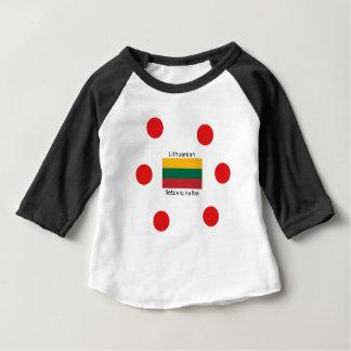Camiseta Para Bebê Bandeira de Lithuania e design lituano da língua