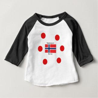 Camiseta Para Bebê Bandeira de Noruega e design norueguês da língua