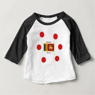 Camiseta Para Bebê Bandeira de Sri Lanka e design da língua de