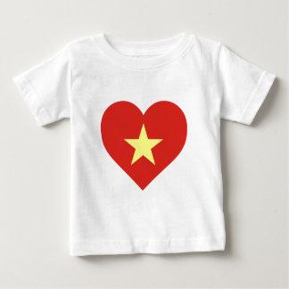 Camiseta Para Bebê Bandeira de Vietnam - vàng do sao do đỏ do amor