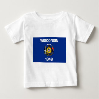 Camiseta Para Bebê Bandeira de Wisconsin