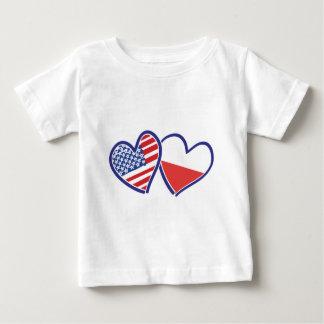 Camiseta Para Bebê Bandeiras do coração do Polônia dos EUA