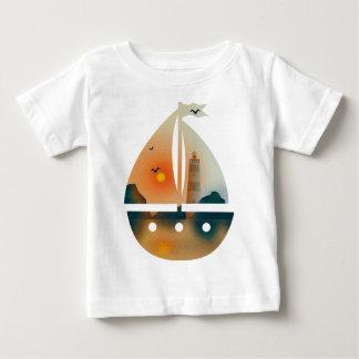 Camiseta Para Bebê Barco de Sunset_sail