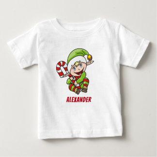 Camiseta Para Bebê Bastão de doces do duende do Natal do ` s primeiro