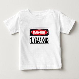 Camiseta Para Bebê Bebê de um ano do sinal do perigo