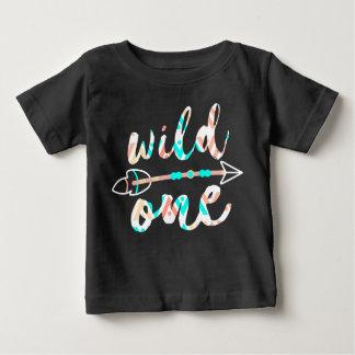 Camiseta Para Bebê Bebê de um ano selvagem um e da seta   Boho  