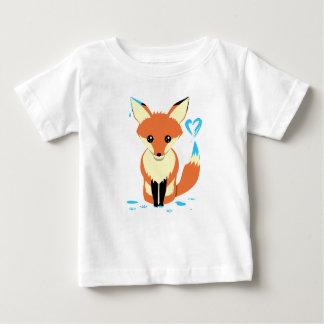 Camiseta Para Bebê Bebê do Fox que pinta o coração azul com cauda
