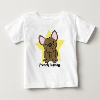 Camiseta Para Bebê Bebê rajado do buldogue francês da estrela de