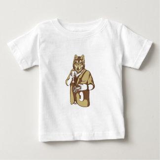 Camiseta Para Bebê bebendo ligado humano do cão