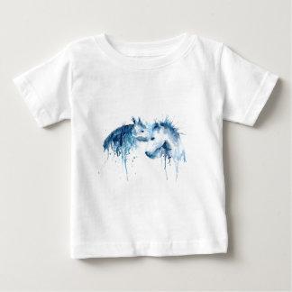 Camiseta Para Bebê Beijo do cavalo da aguarela, amor do cavalo
