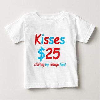 Camiseta Para Bebê beijos que começam meu fundo da faculdade