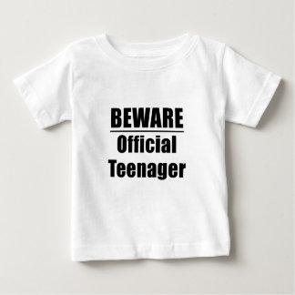 Camiseta Para Bebê Beware o adolescente oficial