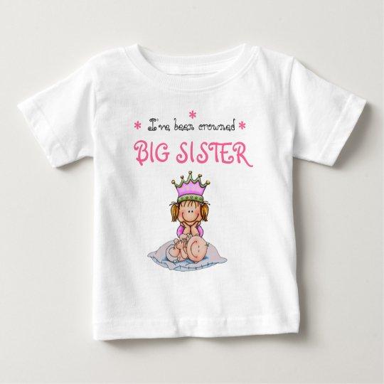 Camiseta Para Bebê big sister crowned