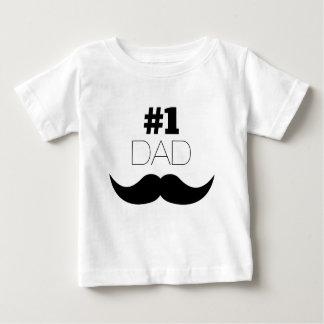 Camiseta Para Bebê Bigode do preto do pai #1 - número um