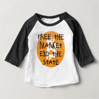 Camiseta Para Bebê Bitcoin - livre a extremidade do mercado o estado