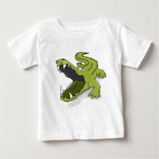 Camiseta Para Bebê Boca verde do jacaré do crocodilo dos desenhos