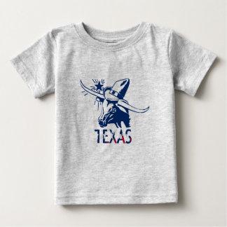 Camiseta Para Bebê Boi azul de Longhorn com chapéu e letras de