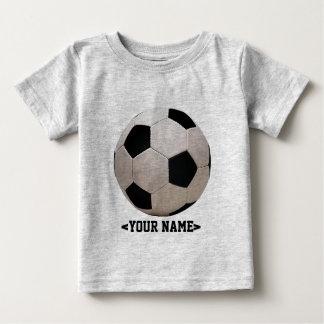 Camiseta Para Bebê Bola de futebol branca e preta