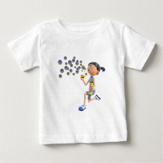 Camiseta Para Bebê Bolhas de sopro da menina dos desenhos animados