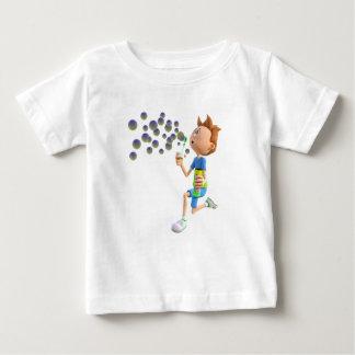 Camiseta Para Bebê Bolhas de sopro do menino dos desenhos animados