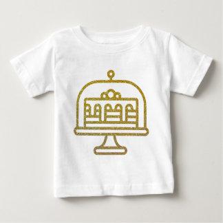 Camiseta Para Bebê Bolo do brilho do ouro