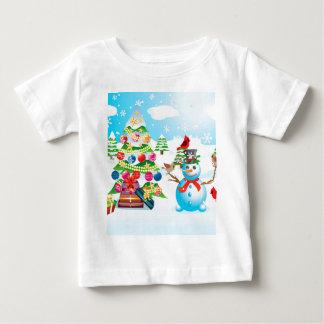 Camiseta Para Bebê Boneco de neve com árvore de Natal