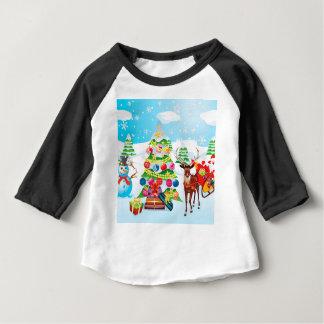 Camiseta Para Bebê Boneco de neve com Natal Tree2