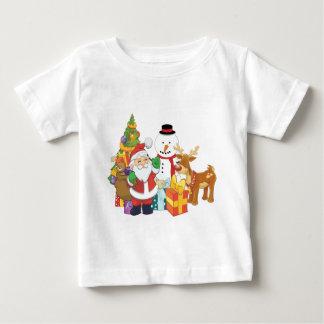 Camiseta Para Bebê Boneco de neve da rena do papai noel da árvore de