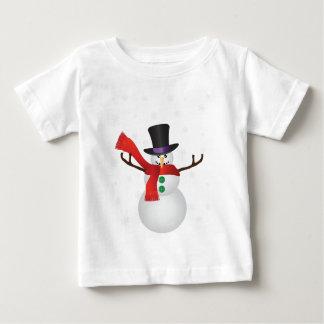 Camiseta Para Bebê Boneco de neve do Natal com ilustração dos flocos