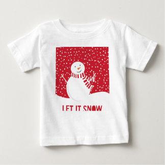 Camiseta Para Bebê boneco de neve vermelho e branco contemporâneo