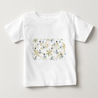 Camiseta Para Bebê Bonecos de neve e flocos