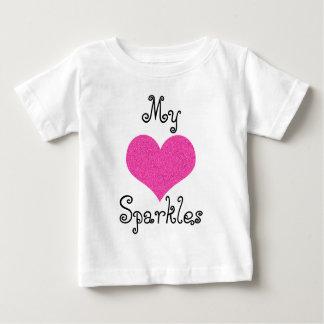 Camiseta Para Bebê bonito meu coração sparkles tshirt do bebê