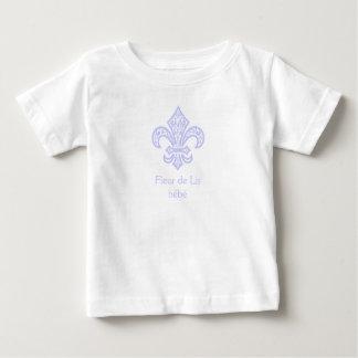 Camiseta Para Bebê Branco/lavanda do bébé™ da flor de lis
