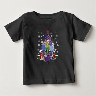 Camiseta Para Bebê Budgerigars com presente e flocos de neve do Natal