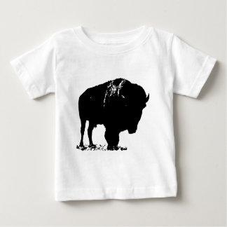 Camiseta Para Bebê Búfalo preto & branco do bisonte do pop art