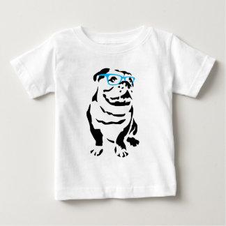 Camiseta Para Bebê Buldogue com vidros azuis